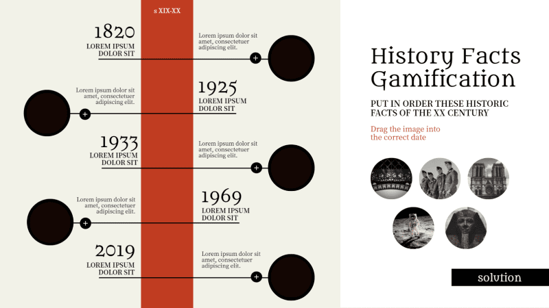 Template to play a game of putting historical facts in chronological order