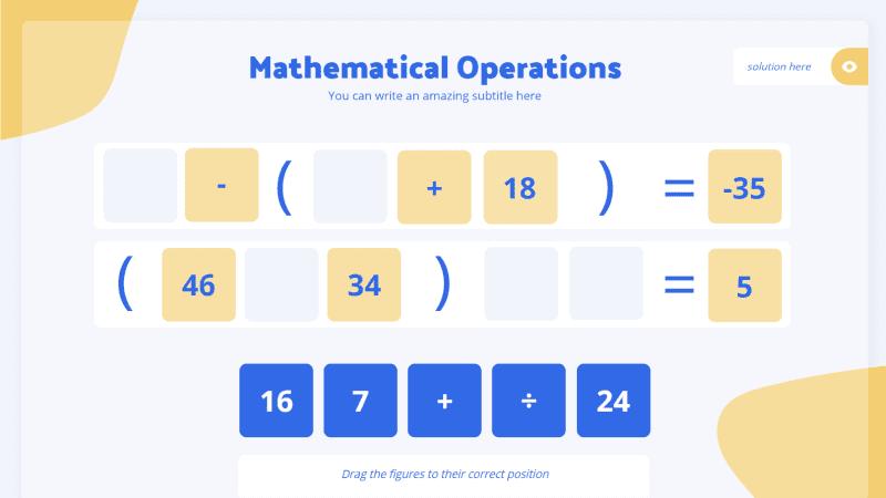 Modèle pour la création de jeux de mathématiques