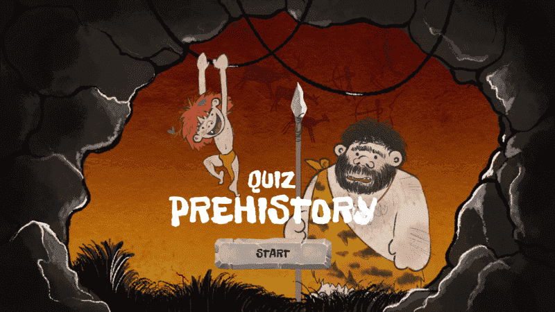 Collection of back-to-school templates: Quiz with ''Prehistory'' theme