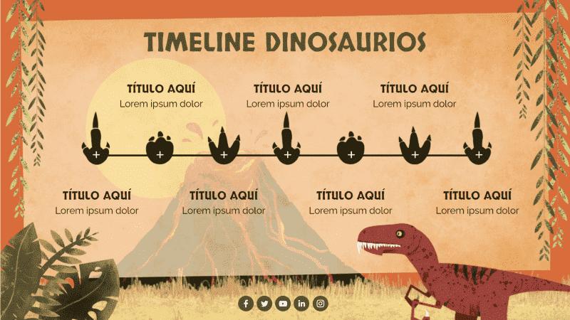 Plantillas de vuelta al cole: línea temporal de temática dinosaurios