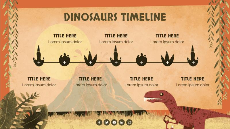 Modèles de pour la rentrée : chronologie sur le  thème des dinosaures